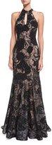 Jovani Floral Embellished Sleeveless Halter Evening Gown