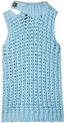 Calvin Klein Cutout Crystal-embellished Open-knit Top
