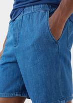 MANGO MAN Elastic Waist Denim Bermuda Shorts
