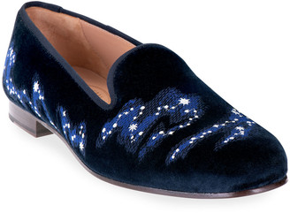 Stubbs And Wootton Constellation-Embroidered Velvet Loafers