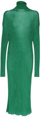 Balenciaga Metallic Knit Rib High Neck Midi Dress