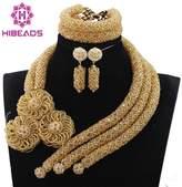 Africanbeads Beads Statement Women Jewelry Necklace Set Dubai African Nigerian Beads Jewelry Set for Wedding