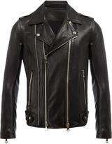 Balmain classic biker jacket - men - Cotton/Lamb Skin/Viscose - 50