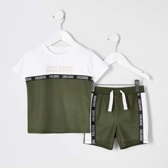 River Island Mini boys Khaki mesh T-shirt and short outfit