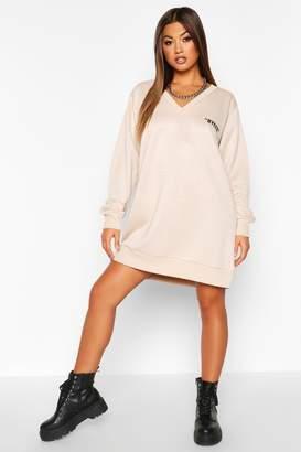 boohoo Bye Pocket V-neck Sweatshirt Dress