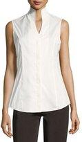 Misook Sleeveless Stretch-Cotton Shirt