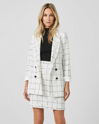 Le Château Windowpane Boucle Double Breasted Blazer