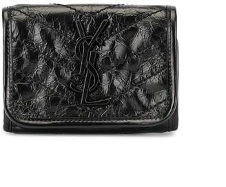 Saint Laurent Niki bi-fold crinkled wallet