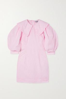 Ganni Ruffled Floral-print Organic Cotton-poplin Mini Dress - Baby pink