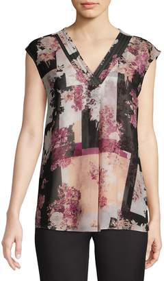 Calvin Klein Floral Chiffon Overlay Blouse