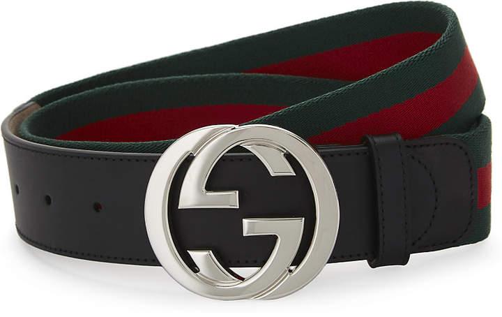 Gucci Web stripe belt