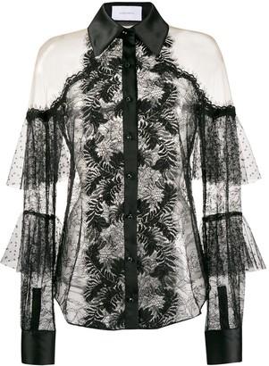 Marchesa Lace Cold Shoulder Shirt