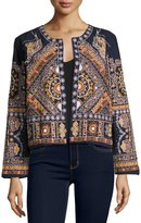 Neiman Marcus Open-Front Embroidered Jacket, Blue