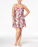 Thalia Sodi Plus Size Lace-Trimmed Printed Chemise, Only at Macy's