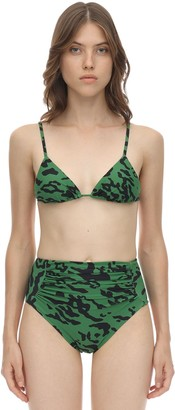 Self-Portrait Printed Lycra Triangle Bikini Top