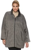 Details Plus Size Sweater Fleece Poncho Jacket