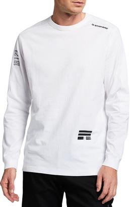 G Star Men's Multi-Logo Long-Sleeve Crewneck Tee