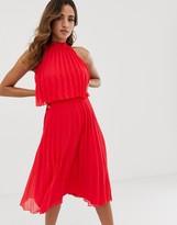 Asos Design DESIGN halter tie neck midi dress in pleat