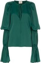 KHAITE Cortez flared-sleeve blouse