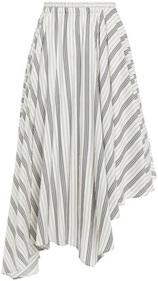 Brunello Cucinelli Asymmetric Striped Silk Skirt