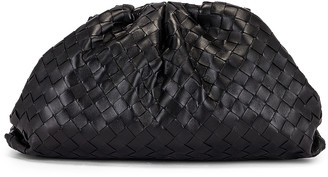 Bottega Veneta Leather Woven Pouch Clutch in Black & Silver | FWRD