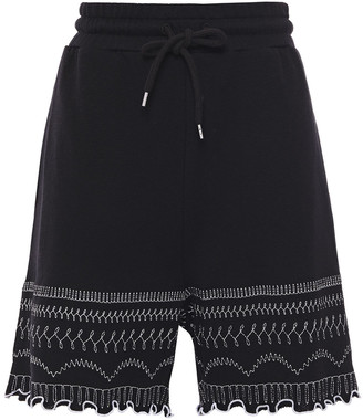 McQ Ruffle-trimmed Embroidered French Cotton-terry Shorts