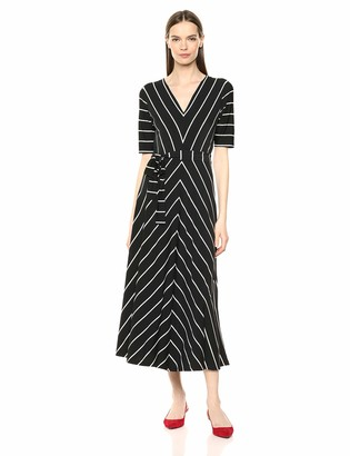Chaus Women's Elbow SLV Striped V-Neck Dress