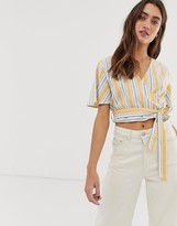 Only stripe wrap crop top