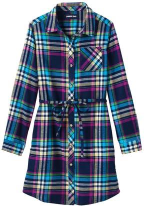 Lands' End Girls 7-16 Long Sleeve Flannel Dress in Regular & Plus Size