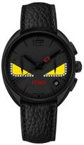 Fendi Momento Bug Chronograph Diamond, Black PVD Stainless Steel & Leather Strap Watch