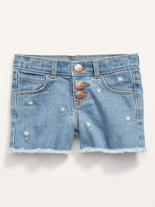 Old Navy Embroidered Daisy Snap-Fly Cut-Off Jean Shorts for Toddler Girls