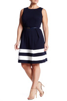 Taylor Border Stripe Ponte Fit & Flare Dress (Plus Size)