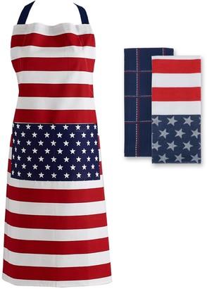 Design Imports Stars and Stripes Towels/Apron Set