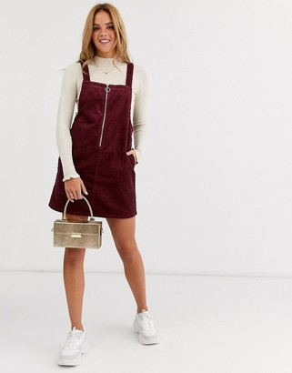 Miss Selfridge cord zip up pinny dress in burgundy