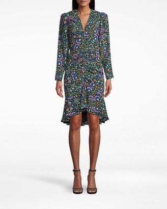 Nicole Miller Mosaic Silk Gathered Front Dress