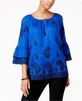 Charter Club Linen Embroidered Peasant Top, Created for Macy's