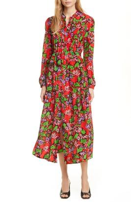 Saloni Remi Long Sleeve Silk Dress