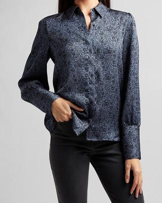 Express Floral Wide Cuff Portofino Shirt