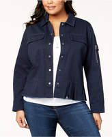 Style&Co. Style & Co Plus Size Cotton Peplum Jacket, Created for Macy's