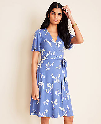 Ann Taylor Petite Floral Flutter Sleeve Wrap Dress