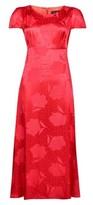 Dorothy Perkins Womens Red Floral Print Jacquard Tea Midi Dress, Red