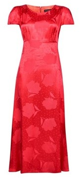 Dorothy Perkins Womens Red Floral Print Jacquard Tea Midi Dress, Red