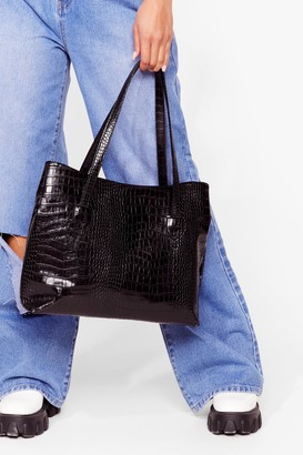 Nasty Gal Womens WANT A Day Thing Croc Tote Bag - Black - One Size
