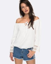 Roxy Womens Retro Revival Off The Shoulder Long Sleeved Top