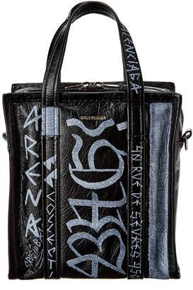 Balenciaga Bazar Graffiti Xs Leather Shopper Tote