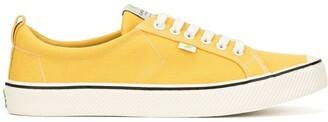 Cariuma OCA Low Stripe Spice Yellow Canvas Contrast Thread Sneaker