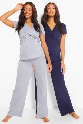 boohoo Maternity 2pk Wrap Nursing Pyjama Trouser Set