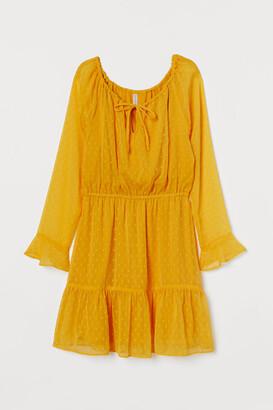 H&M Short Chiffon Dress - Yellow