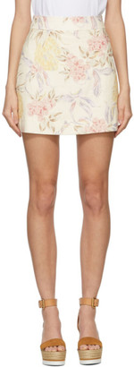See by Chloe Off-White Spring Fruit Miniskirt