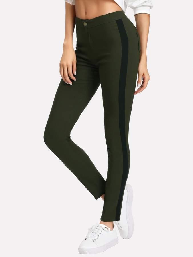 Color Block Side Skinny Pants